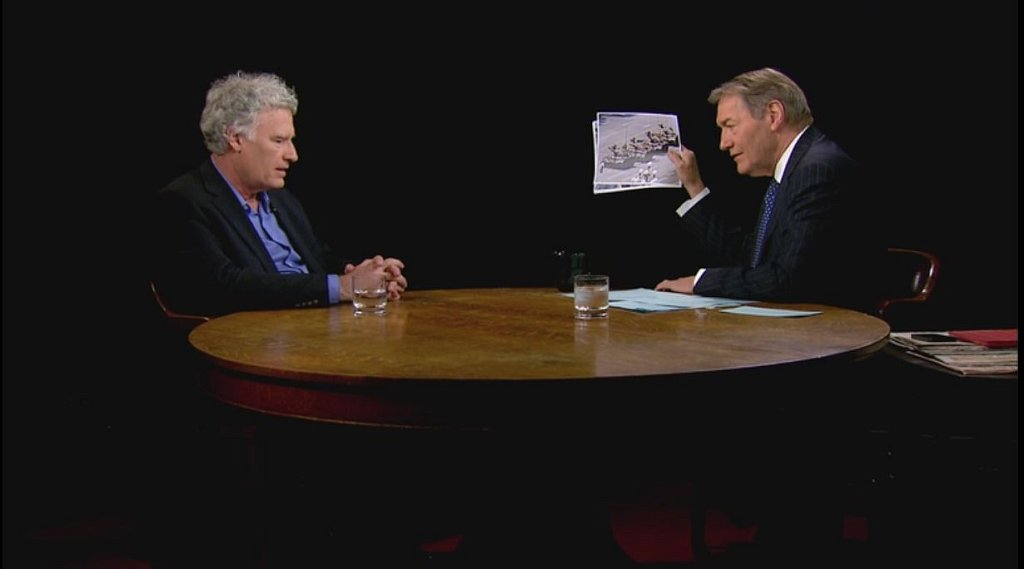 Jeff Widener during an 18-minute interview with PBS television talk show host Charlie Rose in New York